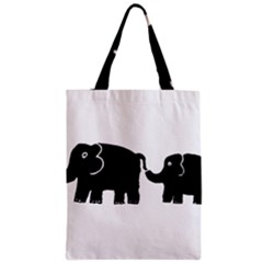 Elephant And Calf Zipper Classic Tote Bags