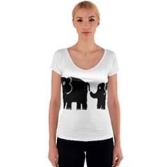 Elephant And Calf Women s V-Neck Cap Sleeve Top