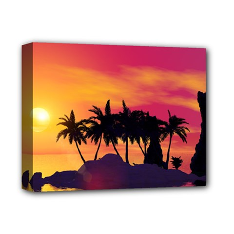 Wonderful Sunset Over The Island Deluxe Canvas 14  x 11
