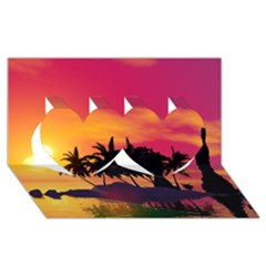 Wonderful Sunset Over The Island Twin Hearts 3d Greeting Card (8x4)