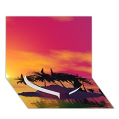 Wonderful Sunset Over The Island Heart Bottom 3D Greeting Card (7x5)