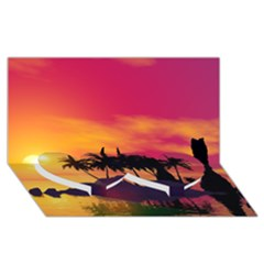 Wonderful Sunset Over The Island Twin Heart Bottom 3D Greeting Card (8x4)
