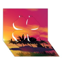 Wonderful Sunset Over The Island Clover 3D Greeting Card (7x5)