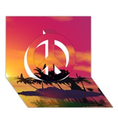 Wonderful Sunset Over The Island Peace Sign 3D Greeting Card (7x5)