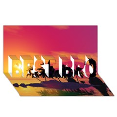 Wonderful Sunset Over The Island BEST BRO 3D Greeting Card (8x4)