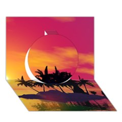 Wonderful Sunset Over The Island Circle 3D Greeting Card (7x5)