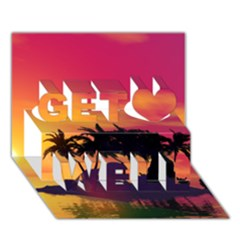 Wonderful Sunset Over The Island Get Well 3d Greeting Card (7x5)