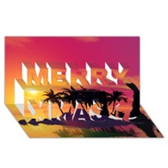 Wonderful Sunset Over The Island Merry Xmas 3D Greeting Card (8x4)