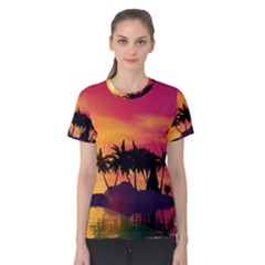 Wonderful Sunset Over The Island Women s Cotton Tees