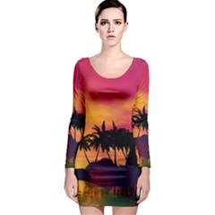 Wonderful Sunset Over The Island Long Sleeve Bodycon Dresses