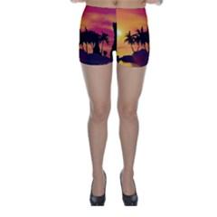Wonderful Sunset Over The Island Skinny Shorts