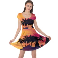 Wonderful Sunset Over The Island Cap Sleeve Dresses