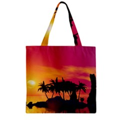Wonderful Sunset Over The Island Zipper Grocery Tote Bags