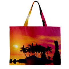 Wonderful Sunset Over The Island Zipper Tiny Tote Bags