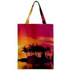 Wonderful Sunset Over The Island Zipper Classic Tote Bags