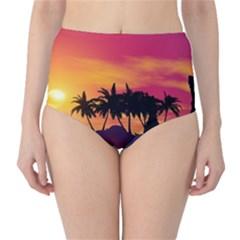 Wonderful Sunset Over The Island High-Waist Bikini Bottoms