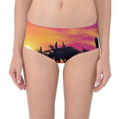 Wonderful Sunset Over The Island Mid-Waist Bikini Bottoms