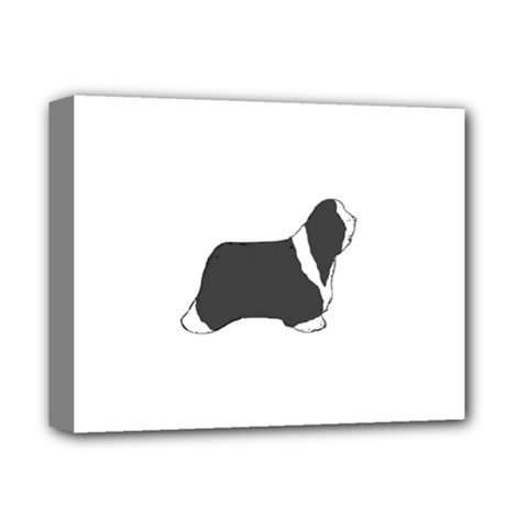 Bearded Collie color silhouette Deluxe Canvas 14  x 11