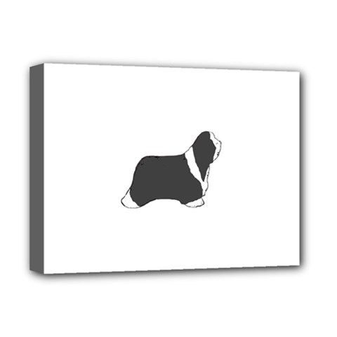 Bearded Collie color silhouette Deluxe Canvas 16  x 12