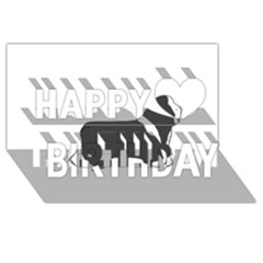 Bearded Collie color silhouette Happy Birthday 3D Greeting Card (8x4)