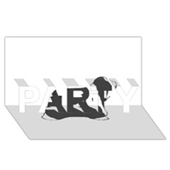Bearded Collie color silhouette PARTY 3D Greeting Card (8x4)