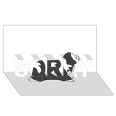 Bearded Collie color silhouette SORRY 3D Greeting Card (8x4)