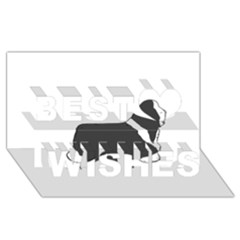 Bearded Collie color silhouette Best Wish 3D Greeting Card (8x4)