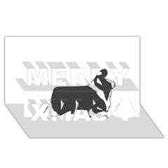 Bearded Collie color silhouette Merry Xmas 3D Greeting Card (8x4)