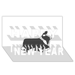 Bearded Collie color silhouette Happy New Year 3D Greeting Card (8x4)