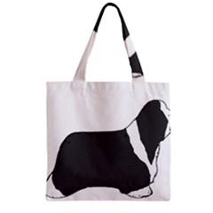 Bearded Collie color silhouette Zipper Grocery Tote Bags