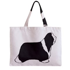 Bearded Collie color silhouette Zipper Tiny Tote Bags