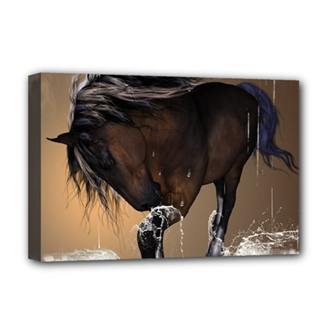 Beautiful Horse With Water Splash Deluxe Canvas 18  x 12