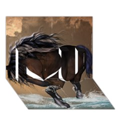 Beautiful Horse With Water Splash I Love You 3D Greeting Card (7x5)