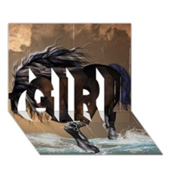 Beautiful Horse With Water Splash GIRL 3D Greeting Card (7x5)