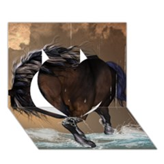 Beautiful Horse With Water Splash Heart 3D Greeting Card (7x5)