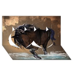 Beautiful Horse With Water Splash Twin Hearts 3D Greeting Card (8x4)