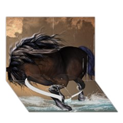 Beautiful Horse With Water Splash Heart Bottom 3D Greeting Card (7x5)