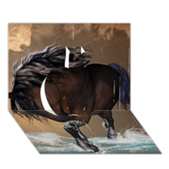 Beautiful Horse With Water Splash Apple 3D Greeting Card (7x5)