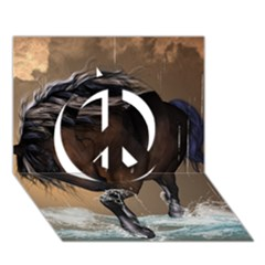 Beautiful Horse With Water Splash Peace Sign 3D Greeting Card (7x5)