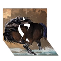 Beautiful Horse With Water Splash Ribbon 3D Greeting Card (7x5)
