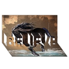 Beautiful Horse With Water Splash Believe 3d Greeting Card (8x4)