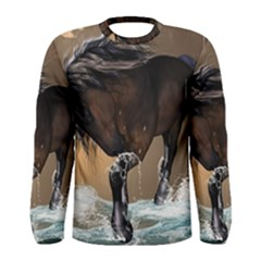 Beautiful Horse With Water Splash Men s Long Sleeve T-shirts