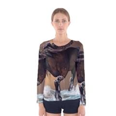 Beautiful Horse With Water Splash Women s Long Sleeve T Shirts