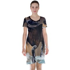 Beautiful Horse With Water Splash Short Sleeve Nightdresses