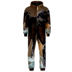 Beautiful Horse With Water Splash Hooded Jumpsuit (Men)