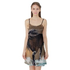 Beautiful Horse With Water Splash Satin Night Slip