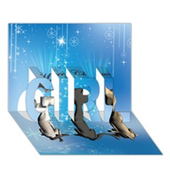 Merry Chrsitmas Girl 3d Greeting Card (7x5)