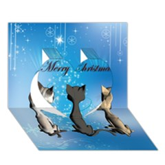 Merry Chrsitmas Heart 3D Greeting Card (7x5)