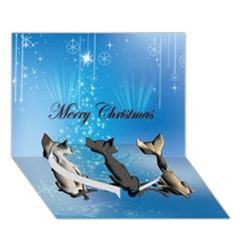 Merry Chrsitmas Heart Bottom 3D Greeting Card (7x5)