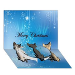 Merry Chrsitmas Circle Bottom 3D Greeting Card (7x5)
